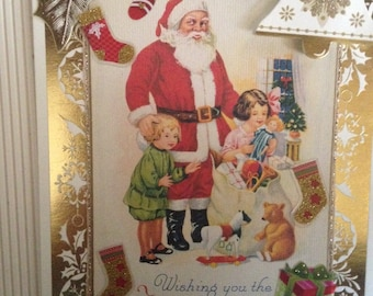 Vintage Style Christmas Card/Handmade/3D/Santa and Kids/Lots of Colorful Embellishments, toys, greeting