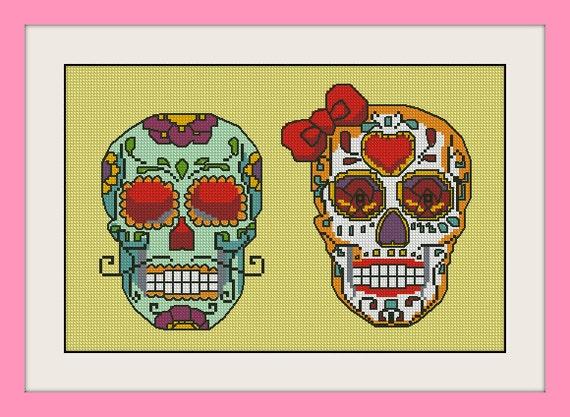 Couple Sugar Skulls  Inc Cross Stitch Pattern  Bogo  Pdf
