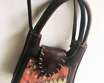 Vintage Kilim and Leather Crossbody Bag