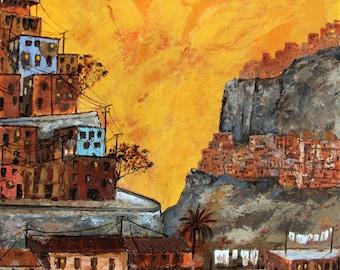 "Favela Rocinha, Rio de Janeiro, Brazil, Organic, Sunset, Original Painting Mixed media Abstract Expressionism, 24x24"",  Free shipping in USA"