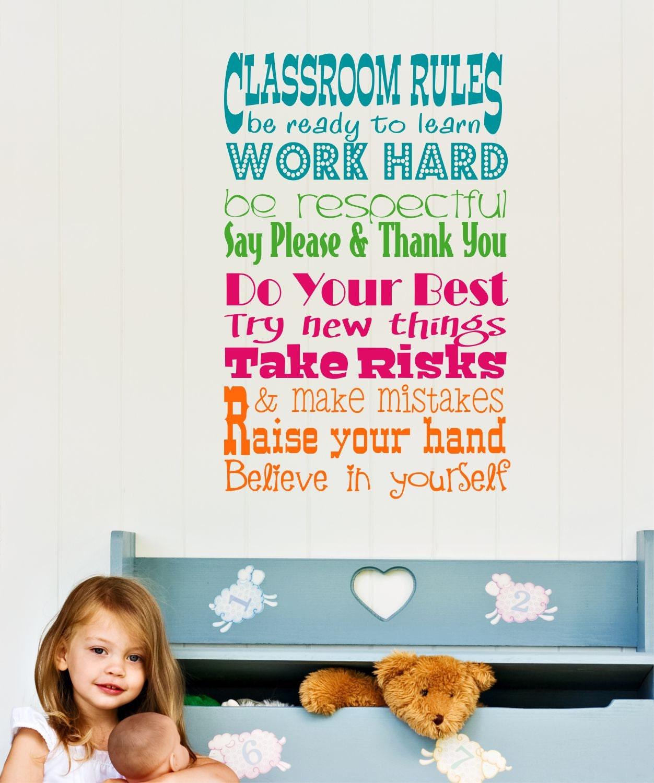 Teacher Classroom Rules Decal Teacher Wall Decal - Custom vinyl wall decals for classrooms