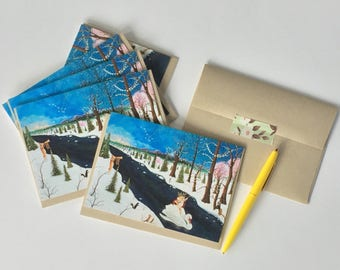 Set of 6 Cards /  Holiday Cards / Solstice Cards / Cute Christmas Cards / Winter Solstice / The Holly Bear King / Swan / Spirit Bear