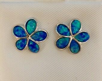Sterling Silver blue opal Hawaii Plumeria flower Stud earrings, 12mm