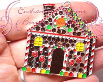"1.75"" Brown Gingerbread House Christmas Charm, Holiday Santa Chunky Pendant, Keychain, Bookmark, Zipper Pull, Chunky Jewelry, Purse Charm"