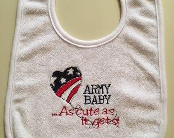 Military Embroidered Baby Bib