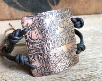 Knoxville Tennessee Copper Etched Bracelet