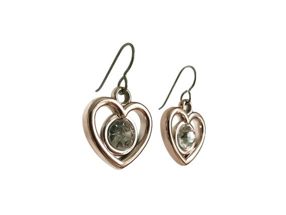Light rose golden faceted clear rhinestone heart dangle earrings - Hypoallergenic pure titanium and acrylic