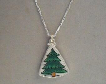 Broken China Jewelry Pine Tree Necklace Christmas Tree Necklace Ceramic Vintage Plate Joy of Christmas