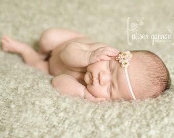 The Lulu Three Rose Petite  Baby Headband, Newborn Headband, Baby Girl Flower Headband, Photography Prop