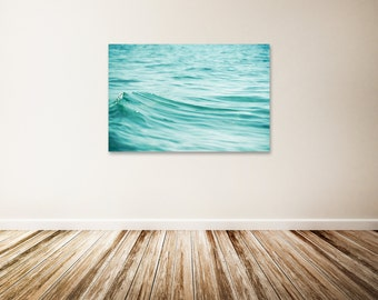 """Water Canvas Print, Large Beach Canvas Art, Teal Wall Decor, Wave Canvas Gallery Wrap, Aqua Water Art, Ocean, Water Photography - """"Rolling"""""""