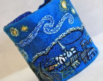 Art Fiber Cuff Bracelet Hand Embroidery Starry Night Hand Embroidered Cuff - Limited Edition