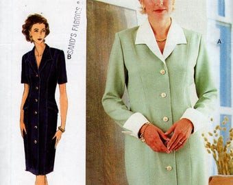 Free Us Ship Sewing Pattern Vogue Woman 9195 Retro 1990s 90's Shirtdress Dress Cuff Sleeves Size 6 8 10 Bust 30.5 31.5 32.5 Uncut