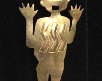 Vintage Handmade Brass Man Brooch Pin