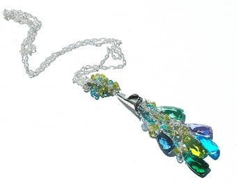 NEW Multi Color Quartz Tassel Necklace / Sterling Silver / Purple / Green / Blue / Wire Wrapped / Long / Pendant / Gifts for Her / OOAK