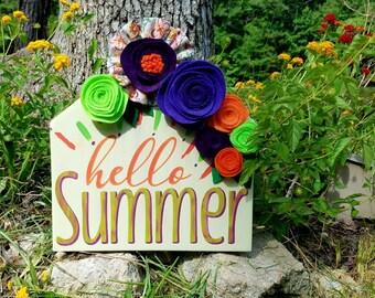Hello Summer Wood Sign, Felt Flower Wood Sign, Handmade Felt Flowers, Hand Painted, Summer Colors