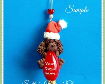 Boykin Spaniel Santa dog Christmas Light Bulb Ornament Sally's Bits of Clay PERSONALIZED FREE with dog's name