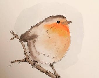 Original Robin Redbreast no.2 Winter Bird Christmas Watercolour Painting