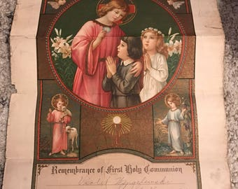 Vintage 1933 First Holy Communion Certificate St. Gall Church Chicago Illinois