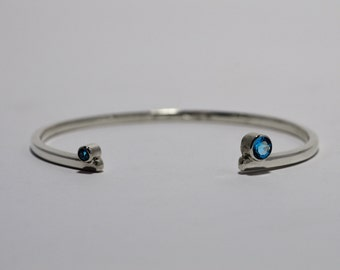 Offset Bracelet with Semiprecious Gemstones