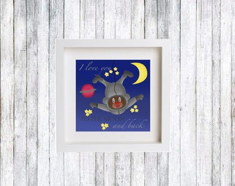 I love you to the moon and back, Illustration children, Children poster, Animal print, Kids gift, Baby room, Poster kids, Nursery Print