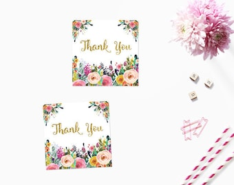 Floral and Gold Favor Tags, Floral Thank You Tags, Pink Floral and Gold Swing Tags Instant Download Printable Favor Tags, Digital JPEG PDF