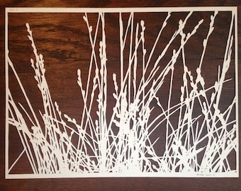 Grasses 8:  Hand-Cut Paper Silhouette of Grass