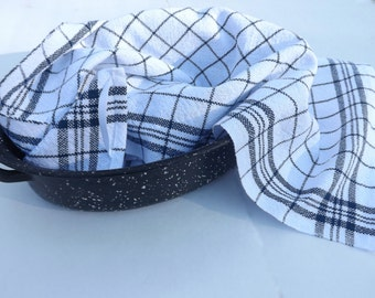 Shaker Inspired HandWoven Dish Towel in Indigo & Bleached White Cotton