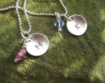 Sterling Silver Initial Necklace with Birthstone.  Mother's or Grandmother's Necklace