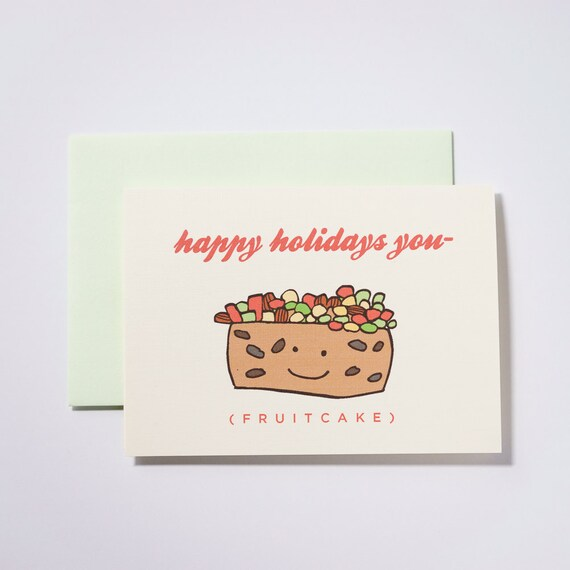 Happy Holidays Fruitcake Set of 5 Greeting Cards