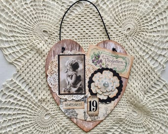 Sweet and Shabby Vintage Style HAPPINESS Altered Hanging Heart