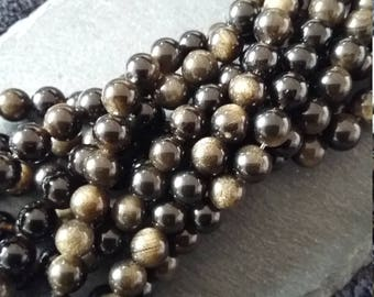 8mm Natural Golden Sheen Black Obsidian Grade AA Round Gemstone Beads Full 15.7 inch strand