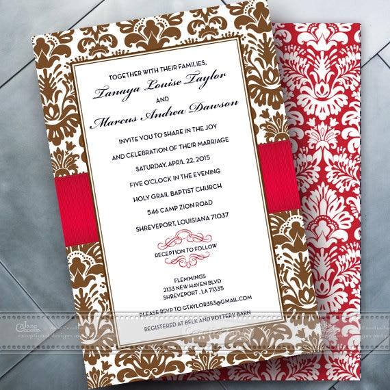 wedding invitations, chocolate wedding invitations, red wedding invitations, wedding package, bridal shower invitations, red bride, IN352