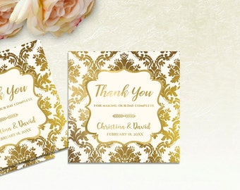 Printable Wedding Thank You Tags, Printable Wedding Favor Tags, Wedding Favour Tags, Wedding Gift Tags, Wedding Favor Stickers, IVORY GOLD