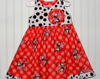 Size 4 Dr Seuss Cat in the Hat Valentine Fabric Dress