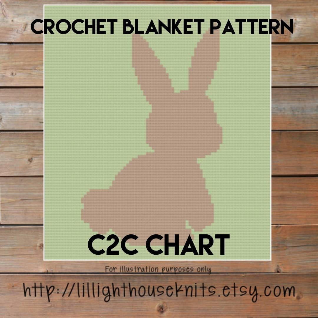 Baby Blanket Bunny Silhouette Crochet Patterns Stitch Diagram Afghan Diagrams Tutorial Corner To Nursery Crib C2c Written Line Counts From