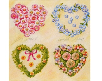 Set of 3 PLA013 hearts flowers paper napkins