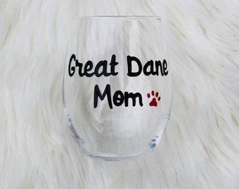 Great Dane Mom handpainted stemless wine glass/Dog Mom wine glass/Great Dane Mom mug/Great Dane Mom gifts/Dog Lover gift/Great Dane glass