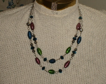 Multi colored, double stranded necklace (glass foil beads)