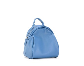 Blue leather convertible backpack and shoulder bag
