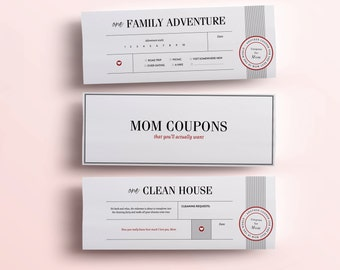 Fun Mothers Day Gift - 11 Printable Coupons For Mum, Unique Gifts for Mom - DIY