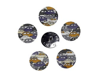 5 fabric buttons Liberty cars two color choices and 9 sizes in option