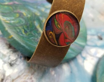 Red &Yellow swirl/Bronze /Cuff Bracelet/Hand painted/One of a kind
