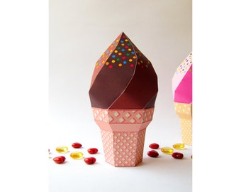 DIY icecream favor box, Chocolate icecream Printable template, DIY waffle cone softy, Party décor centerpiece, summer party Instant download