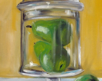 Jar of pears, painting, country art, still life, fruit still life, oil painting, ready to hang, original art, pears