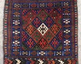 "Small Kurdish Jaff Bagface Mat rug - 24"" x 24"" - 62 x 61 cm. - Free shipping!"