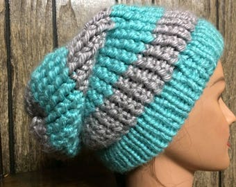 Teal & Grey Spiral Knit Slouch Beanie