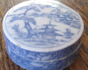 Vintage Antique Ceramic Round Keepsake Container