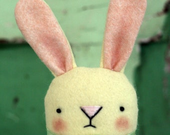 Sweet little cream/yellow wool felt bunny Rabbit, hand made in UK.