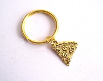 Gold Pizza Slice, Pizza Keychain, Antiqued Gold Pizza Key Ring, Pizza Slice Key Chain, Pizza Key Holder, Pizza Lover Gift