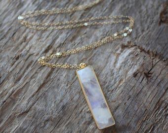 Long Rainbow Moonstone Bar Necklace- Gold
